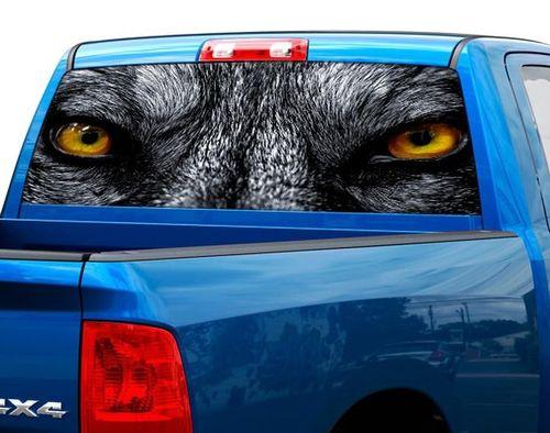 Wolf-Augen-Wölfe-Heckscheibe-Grafik-Aufkleber-Aufkleber-LKW-SUV-