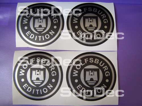 VW WOLFSBURG ROAD WHEEL CENTER CAP 4 DECALS
