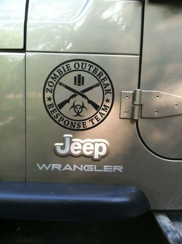 2 ZOMBIE OUTBREAK Response Vehicle Jeep Vinyl Sticker