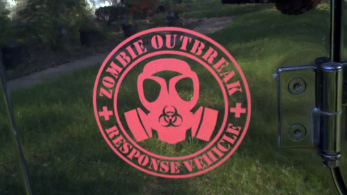 2 ZOMBIE OUTBREAK Response Vehicle JEEP Vinyl Sticker Decal