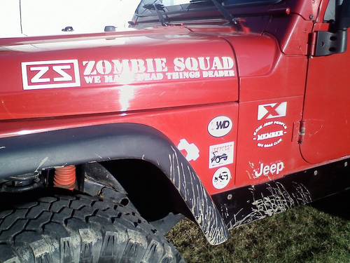 Zombie Squad We Make Dead Things Deader JEEP Vinyl Sticker Decal