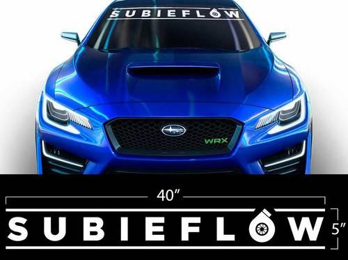 Vinyl Aufkleber Wrap Banner SUBIEFLOW Subaru WRX STI BRZ Subie Flow Turbo Flat Weiß