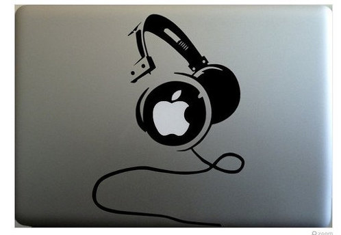 Apple head phone macbook decal sticker