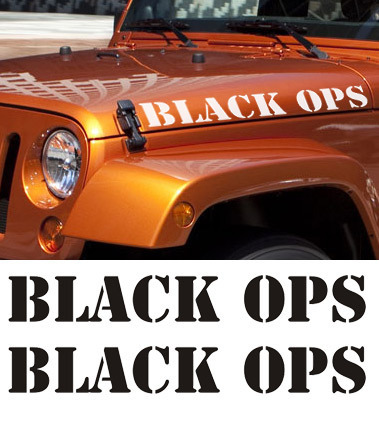 2 BLACK OPS Vinyl Hood Jeep Wrangler Rubicon Decal Sticker