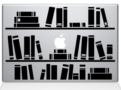bookshelf library decal sticker macbook apple