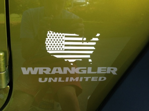 2 Jeep USA Flag Maps jk Wrangler decals