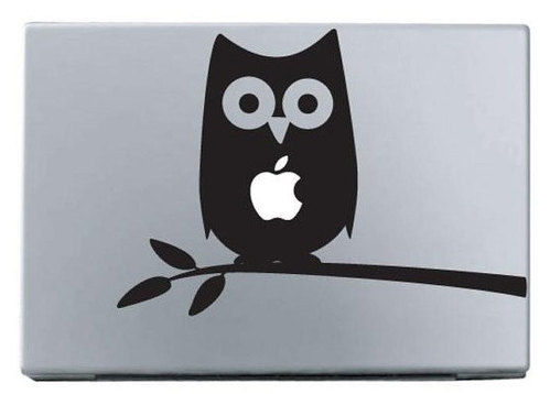 Apple owl on branch macbook decal sticker