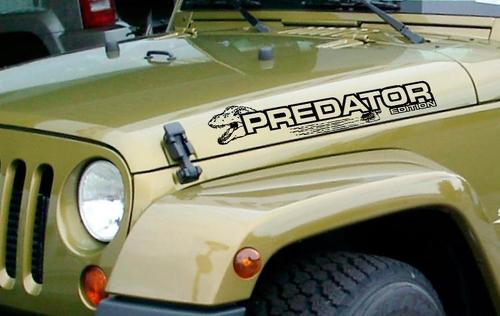 PREDATOR jeep wrangler hood side vinyl decal stickers any color