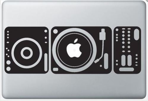 Apple record players macbook decal sticker