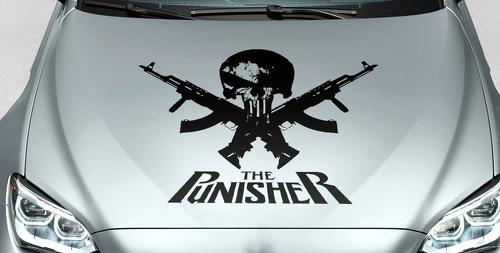 PUNISHER skull & words GUN hood side vinyl decal sticker for car track suv
