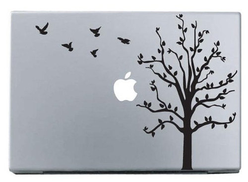 Apple trees and birds macbook decal sticker