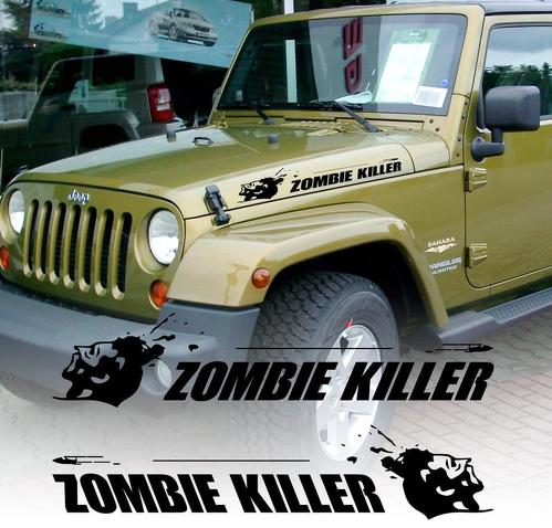 Pair hood zombie killer bullet JEEP WRANGLER RUBICON DODGE TRUCK FJ CRUIZER decal sticker vinyl